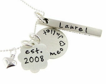 FAMILY necklace - Personalized Mother necklace / Hand stamped sterling silver - up to SIX or SEVEN family names