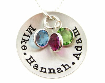 Personalized Hand Stamped Mommy Necklace -THREE or FOUR Names - Mothers Birthstone Jewelry