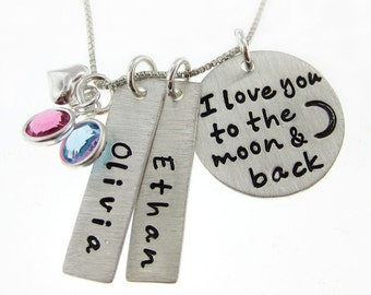 I Love you to the moon and back necklace - Personalized Hand Stamped Mommy Necklaces - TWO name charms - Heart and birthstones  (NN006)