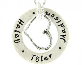 Personalized Necklace - Hand Stamped Sterling Silver Jewelry - Circle of Love necklace with a Large Open Heart Charm (NN045)
