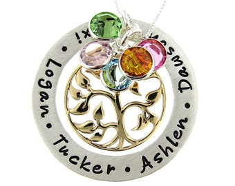 Personalized Family Tree Necklace with Birthstones (Large) - Hand Stamped Mothers Jewelry with Bronze Tree of Life charm (NN047)
