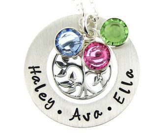 Hand Stamped Mommy Necklaces - Personalized Family Tree Necklace with Birthstones - Keepsakes (NN046)