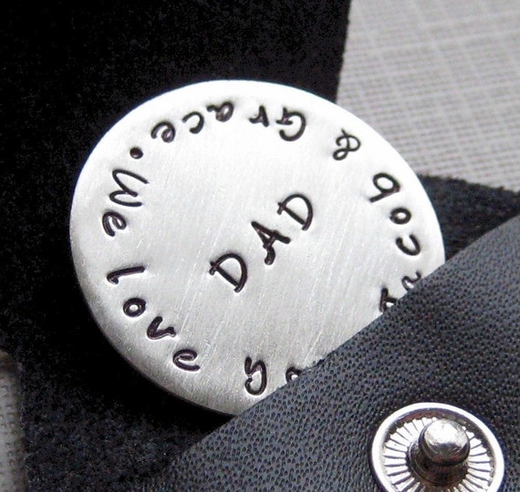 Golf Ball Marker with Key Chain - Sterling Silver Personalized Hand Stamped Golf Ball Marker with Key Chain (GM003)