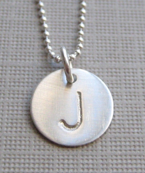 ONE INITIAL SMALL Charm Handstamped Personalized Sterling Silver Keepsake Necklace