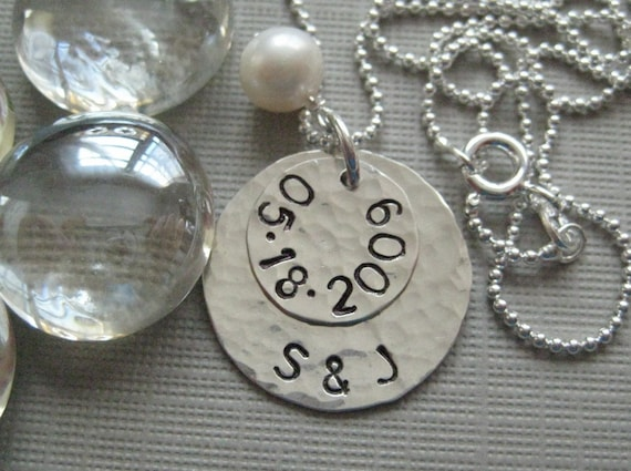 Personalized Anniversary Necklace - Sterling Silver Keepsake Necklace with a freshwater pearl