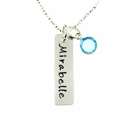Hand Stamped Jewelry - Personalized Mothers Jewelry with a birthstone - One rectangle NAME Charm
