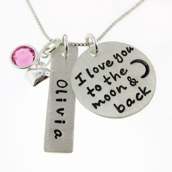 I Love you to the moon and back necklace - Personalized Hand Stamped Mommy Necklace - Heart charm and a birthstone (NN006)