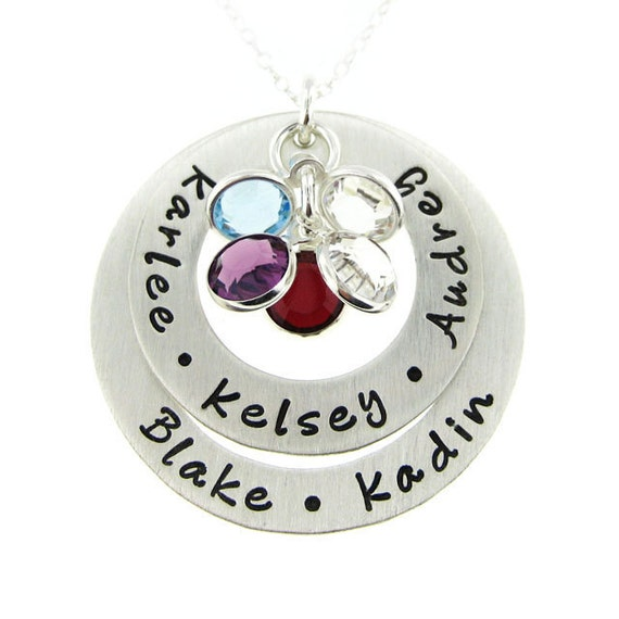 Hand Stamped Personalized Necklace - My Family Necklace with Round Birthstones - Mothers and Grandmothers Jewelry