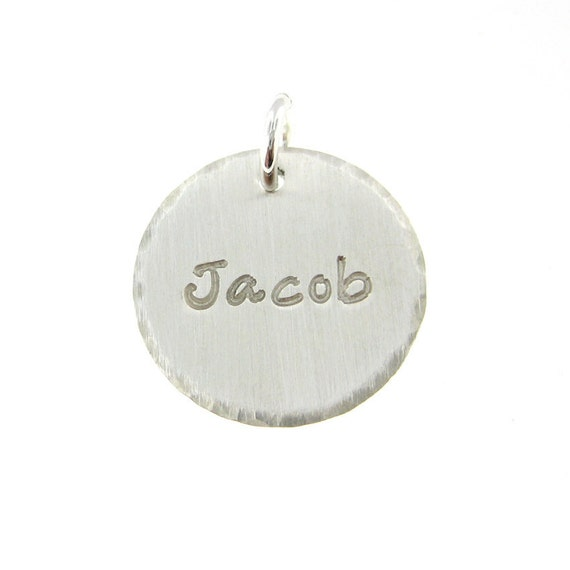 ADD a Name or a Date Charm - 5/8 inch Round sterling silver tag (AO027)