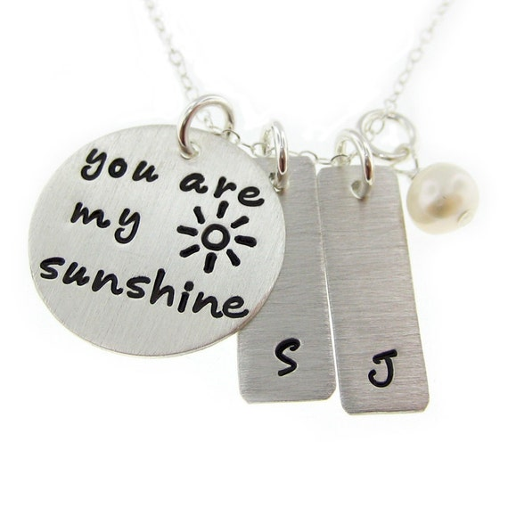 You Are My Sunshine necklace - Personalized Hand Stamped Mommy Necklace with a freshwater pearl