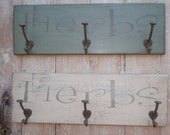 Wood Garden Herb Sign with Coat Hooks