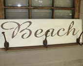 Wood Beach Sign with Hooks