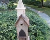Re-Purposed Barnwood Church Birdhouse