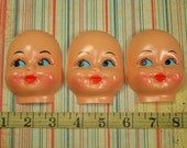 3 Vintage Doll Faces with Dimples