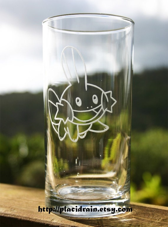 MUDKIP Hand Engraved Tall Clear Tumbler