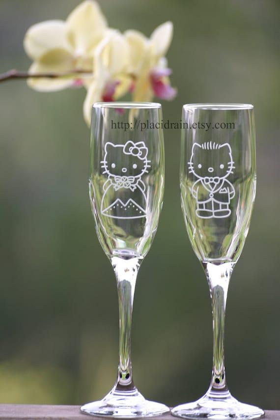 Hello Kitty and Dear Daniel Champagne Fanart (Glass Set)