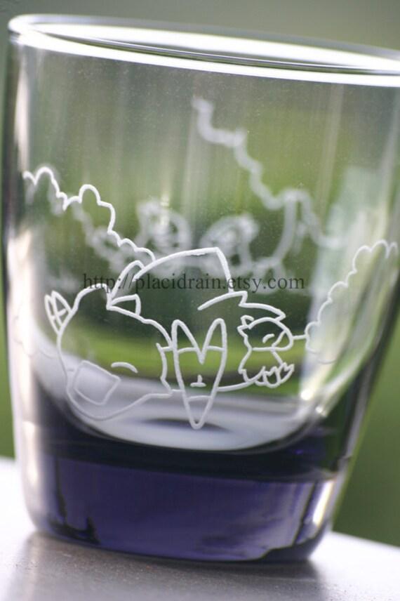 SLEEPING CHOCOBO Fanart Short Glass (3-D like-- Engraved on 2 sides -- grey) 13 oz.
