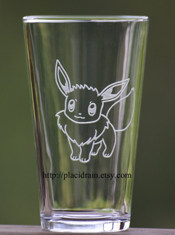 Eevee Hand Engraved Fanart Glass (16 oz.)  -- Tempered glass --