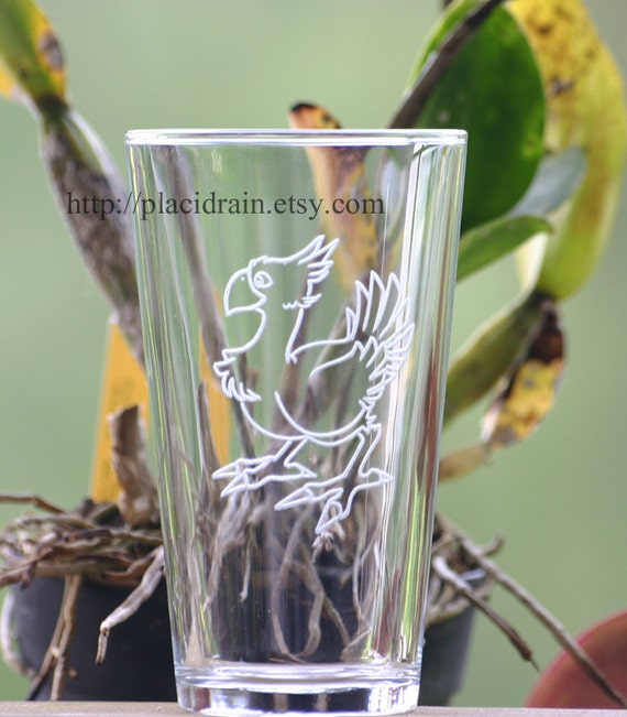 CHOCOBO Hand Engraved Fanart Glass (16 oz.)  -- Tempered glass --