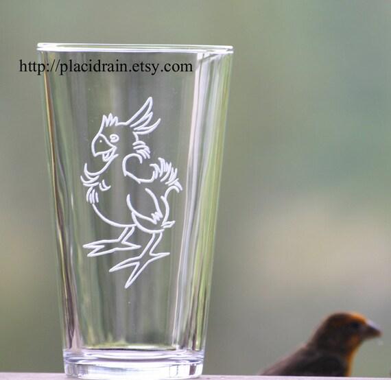 CHOCOBO Hand Engraved Fanart Glass (version 2) 16 oz.  -- Tempered glass --