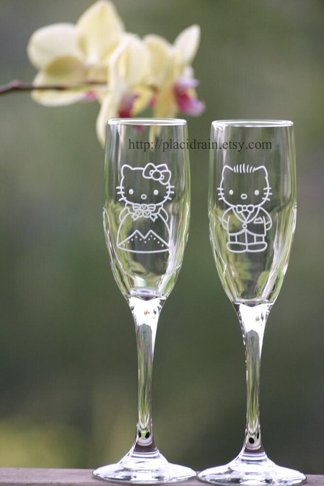 Hello Kitty And Dear Daniel Champagne Fanart Glass Set