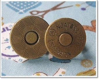 10 sets of Magnetic Snap Closures Antique Brass ( 14 mm )  Extra Thin