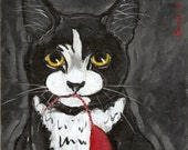 Cat Painting Original OOAK Folk Black Tuxedo  Cat and Mousie 8 X 10 Canvas Board by Carole Gregorio Chapla
