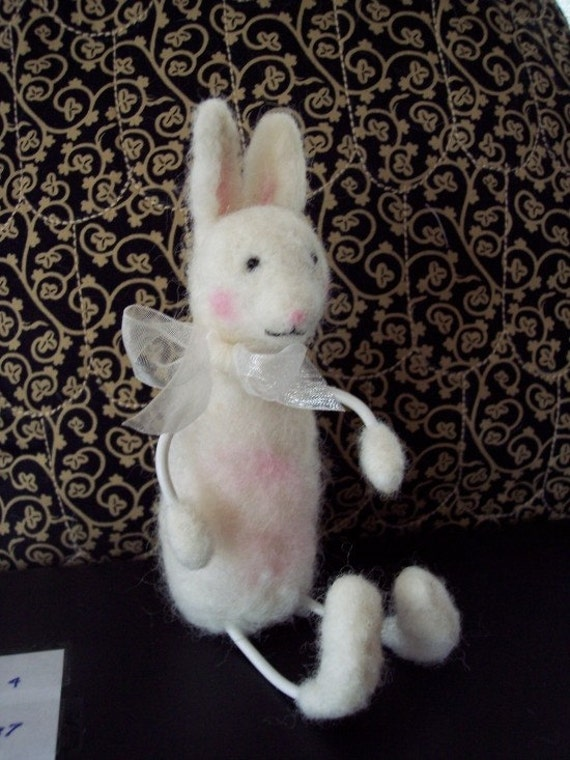 Bunny Animal Cute Needle-Felted Wool and covered wire fiber art Original OOAK Rabbit Wool Sculpture