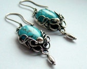 Restlessness - turquoise and sterling silver, wire wrapped earrings