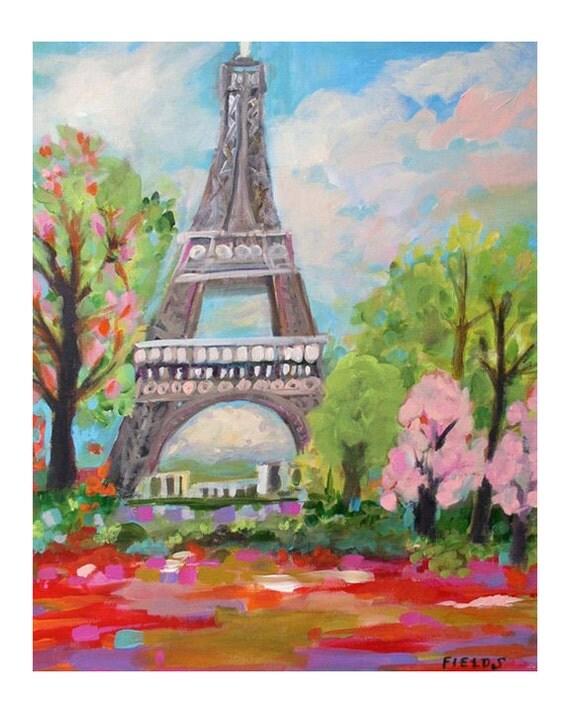 Eiffel Tower - Print by Karen Fields 11 x 14