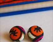 Pumpkin Tree. Fabric button earrings. Large.