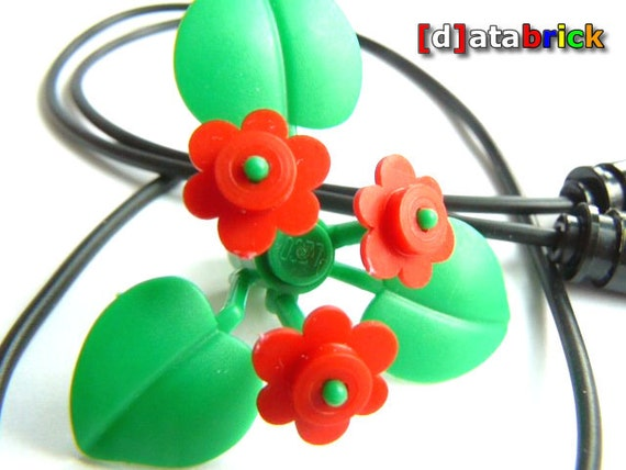 Handmade Flower Power addon Necklace made with Lego Parts clickon jewelry