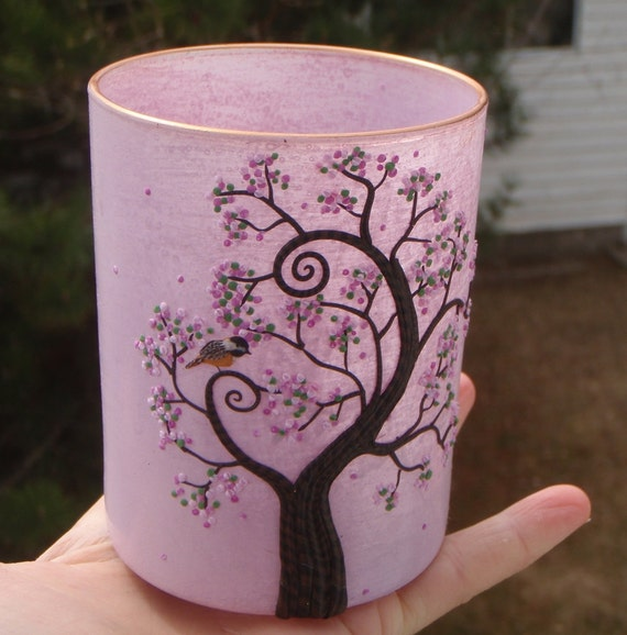 Chickadee and Spring Blossom Tree On Blush Pink Recycled Glass Candle Holder