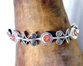 Dark Pink Coral and Spiral of Life Bracelet