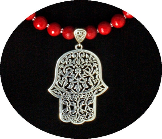 Moroccan Silver Hamsa and Red Coral