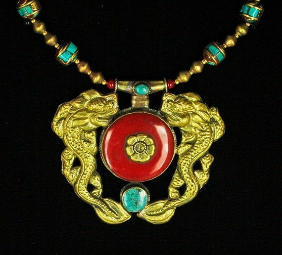 Nepalese Double Dragon Amulet