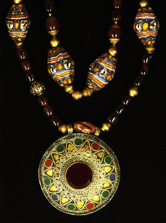 Afghani Face Bead Necklace