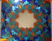 Mosaic Mirror Blue and Copper Large Handmade Glitter Glass