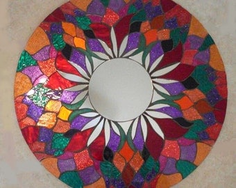 "24"" Mosaic Mirror Red Round Handmade Glitter Glass"