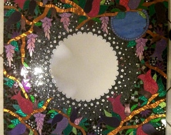 Misty Moon Mosaic Mirror Large Glitter Stained Glass 30 X 30