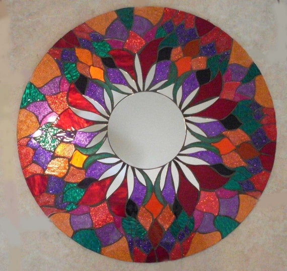 "Reduced 24"" Mosaic Mirror Red Round Handmade Glitter Glass"