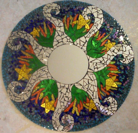 PRICE Reduction...Blue Ocean Themed Colorful Handmade Glass Mosaic Mirror