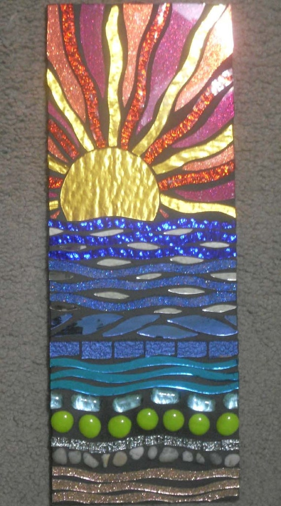 Sunset Beach Stained Glass Mosaic Wall Hanging