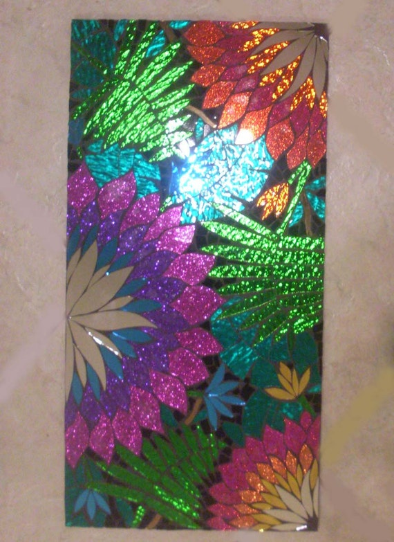 Tropical handmade stained glass mosaic wall hanging for Glass wall art