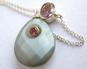 Pink Topaz And Gray Moonstone Necklace