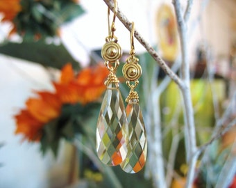 18kt Gold Spiral And Yellow Citrine Earrings