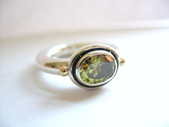 Big Round Silver, Gold And Oval Gemstone Ring