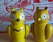 yellow wooden owl shakers