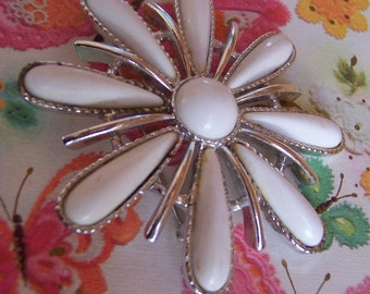 lovely milky white and silver brooch
