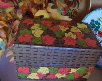fun autumn leaf recipe file box